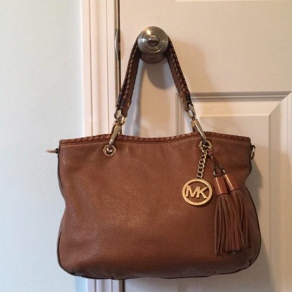 7948612c30c MK cognac Leather Shoulder Bag